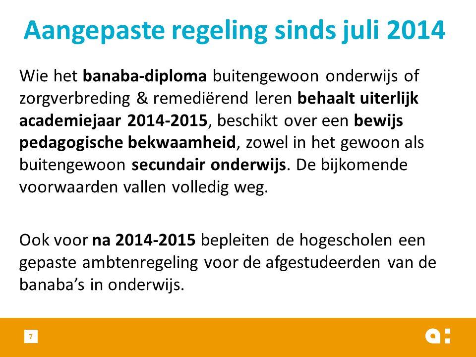 Aangepaste regeling sinds juli 2014
