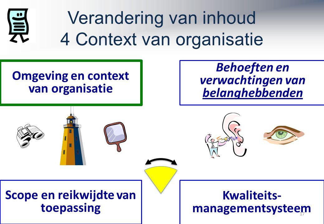Verandering van inhoud 4 Context van organisatie