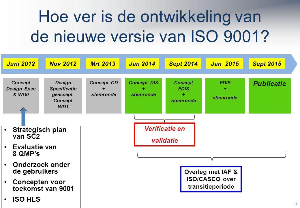 Hoe ver is de ontwikkeling van de nieuwe versie van ISO 9001