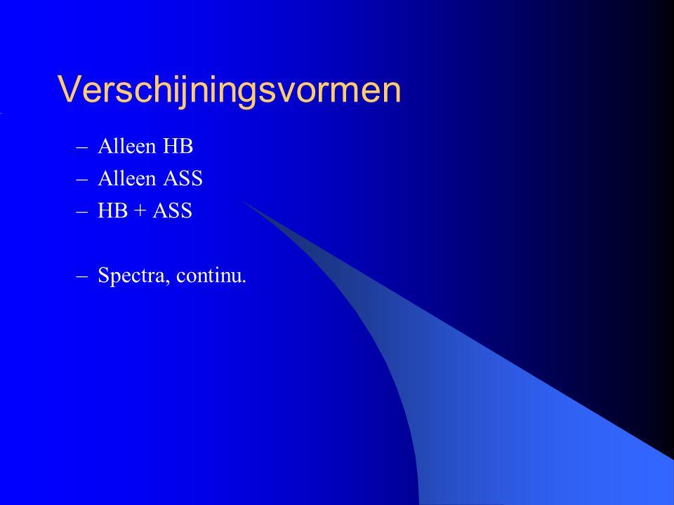 Verschijningsvormen Alleen HB Alleen ASS HB + ASS Spectra, continu.