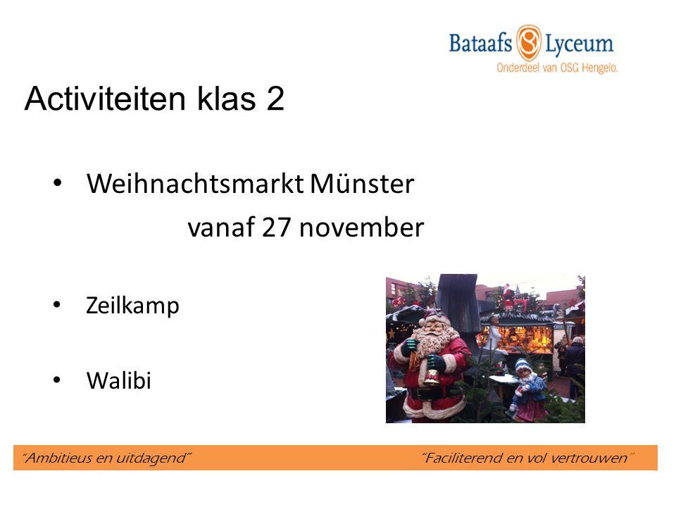 Activiteiten klas 2 Weihnachtsmarkt Münster vanaf 27 november Zeilkamp