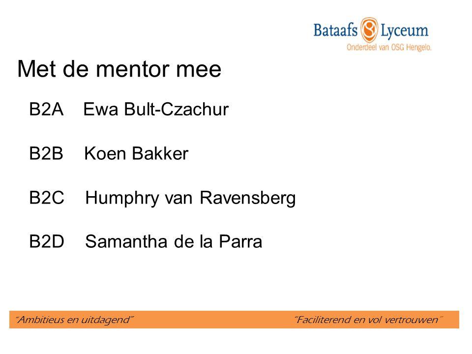 Met de mentor mee B2A Ewa Bult-Czachur B2B Koen Bakker