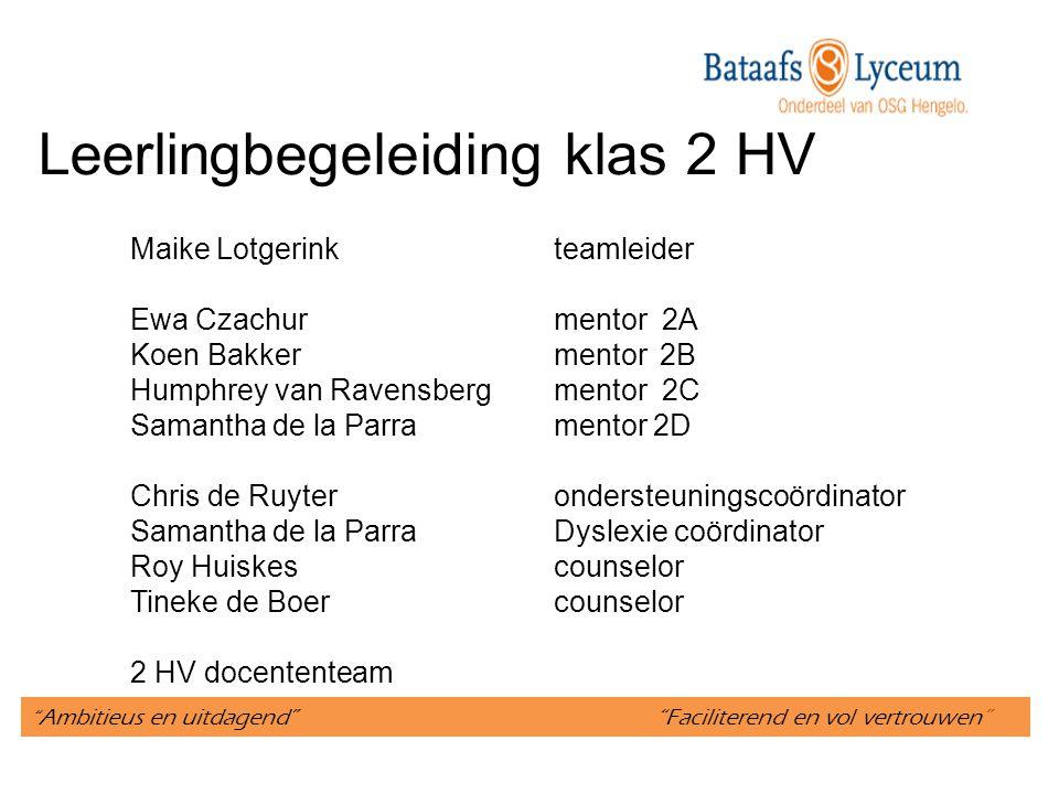 Leerlingbegeleiding klas 2 HV