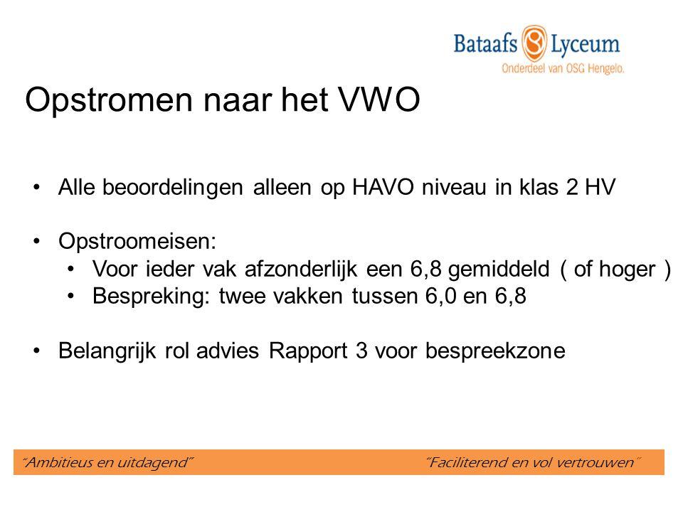 Opstromen naar het VWO Alle beoordelingen alleen op HAVO niveau in klas 2 HV. Opstroomeisen:
