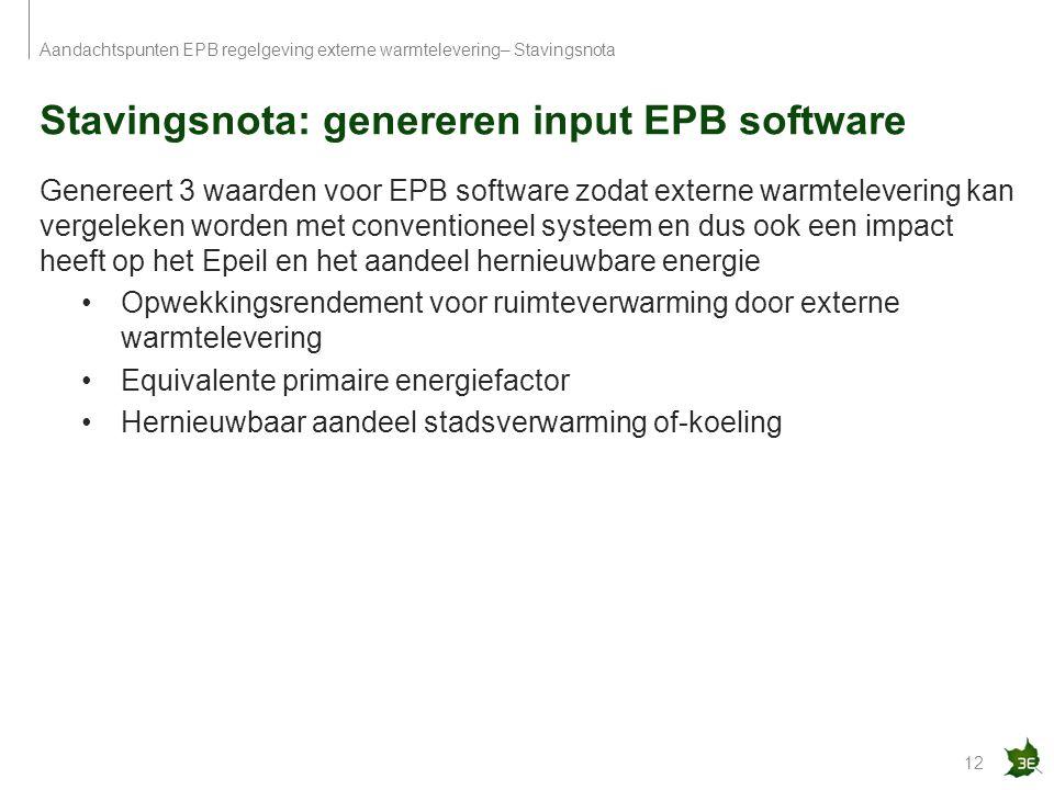 Stavingsnota: genereren input EPB software