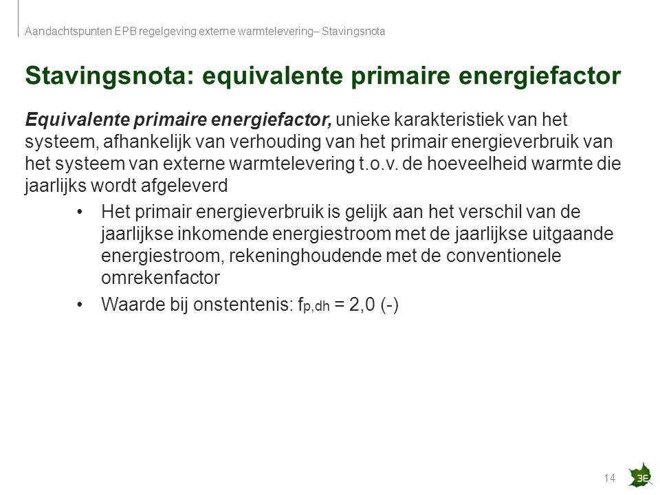 Stavingsnota: equivalente primaire energiefactor