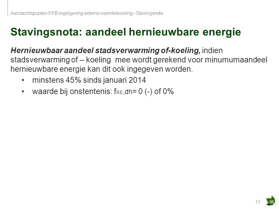 Stavingsnota: aandeel hernieuwbare energie