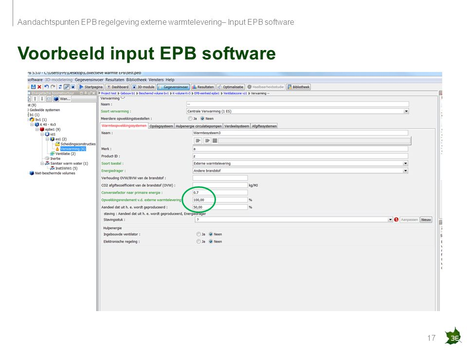 Voorbeeld input EPB software