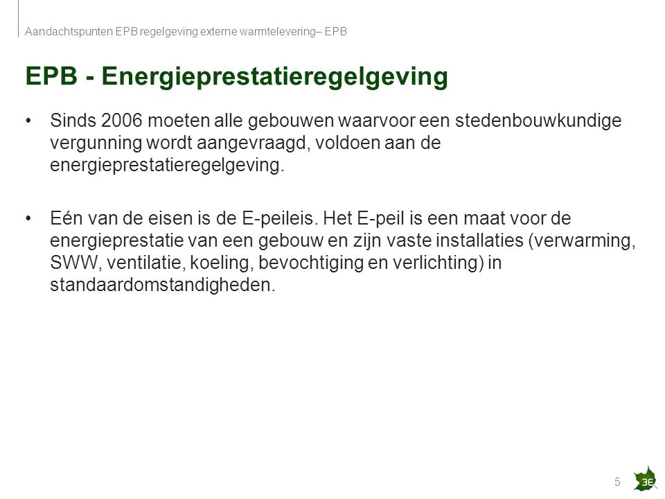 EPB - Energieprestatieregelgeving