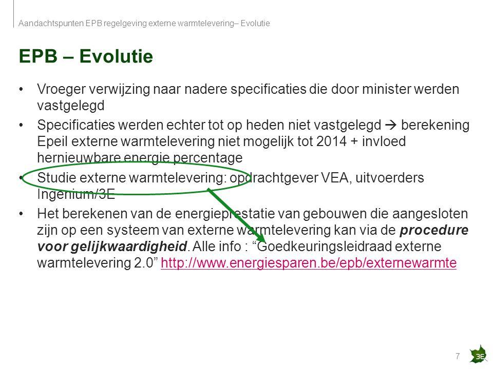 Aandachtspunten EPB regelgeving externe warmtelevering– Evolutie