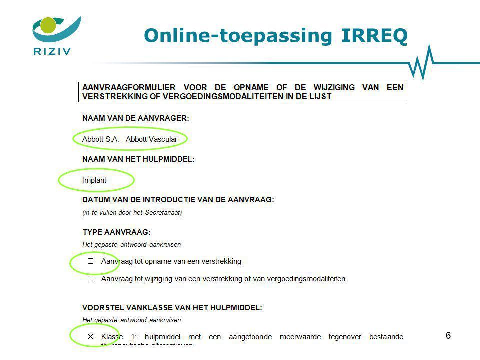 Online-toepassing IRREQ