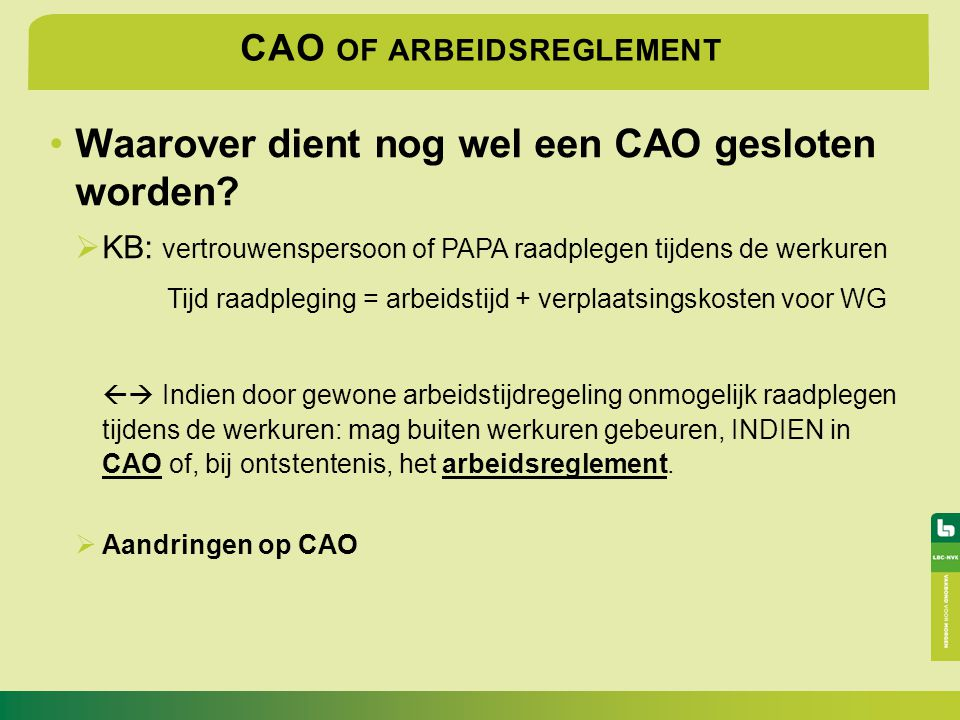 CAO of arbeidsreglement