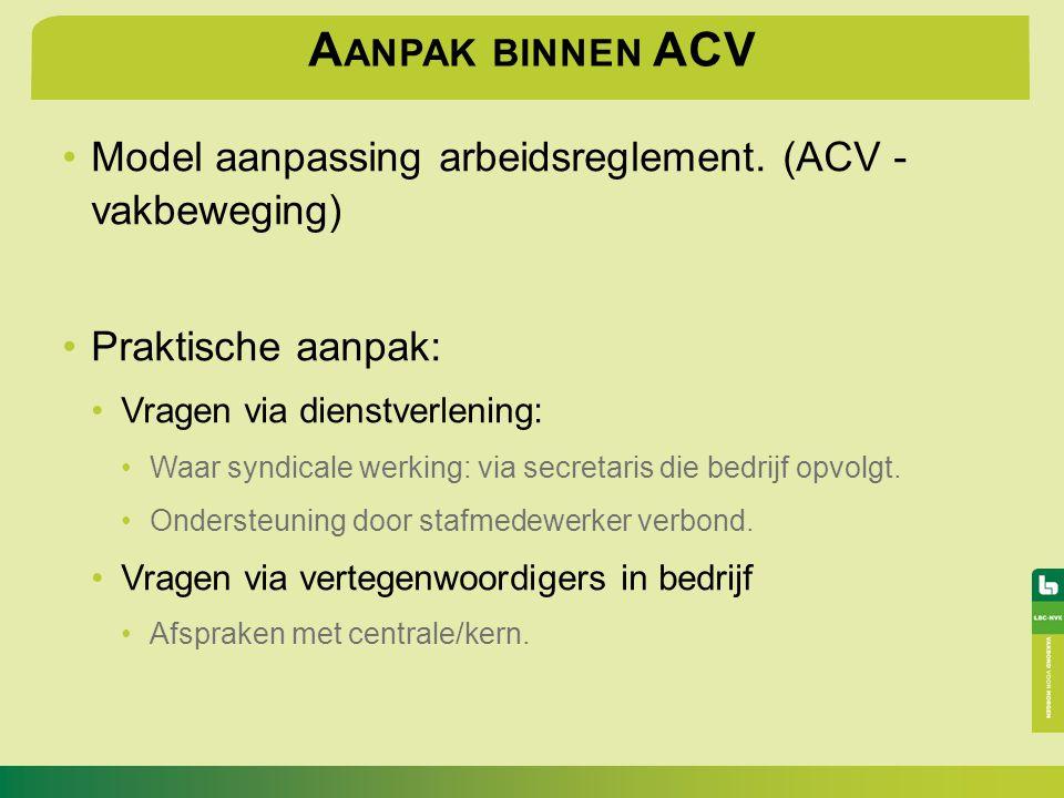 Aanpak binnen ACV Model aanpassing arbeidsreglement. (ACV - vakbeweging) Praktische aanpak: Vragen via dienstverlening: