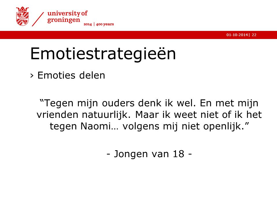 Emotiestrategieën Emoties delen