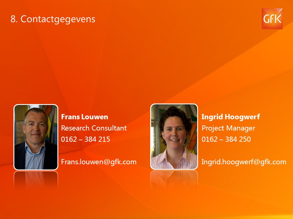 8. Contactgegevens Frans Louwen Research Consultant 0162 – 384 215
