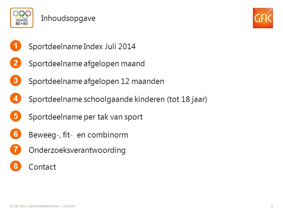 Inhoudsopgave 1. Sportdeelname Index Juli 2014. 2. Sportdeelname afgelopen maand. 3. Sportdeelname afgelopen 12 maanden.