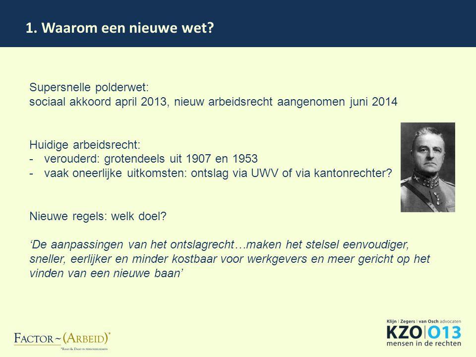 1. Waarom een nieuwe wet Supersnelle polderwet: sociaal akkoord april 2013, nieuw arbeidsrecht aangenomen juni 2014.