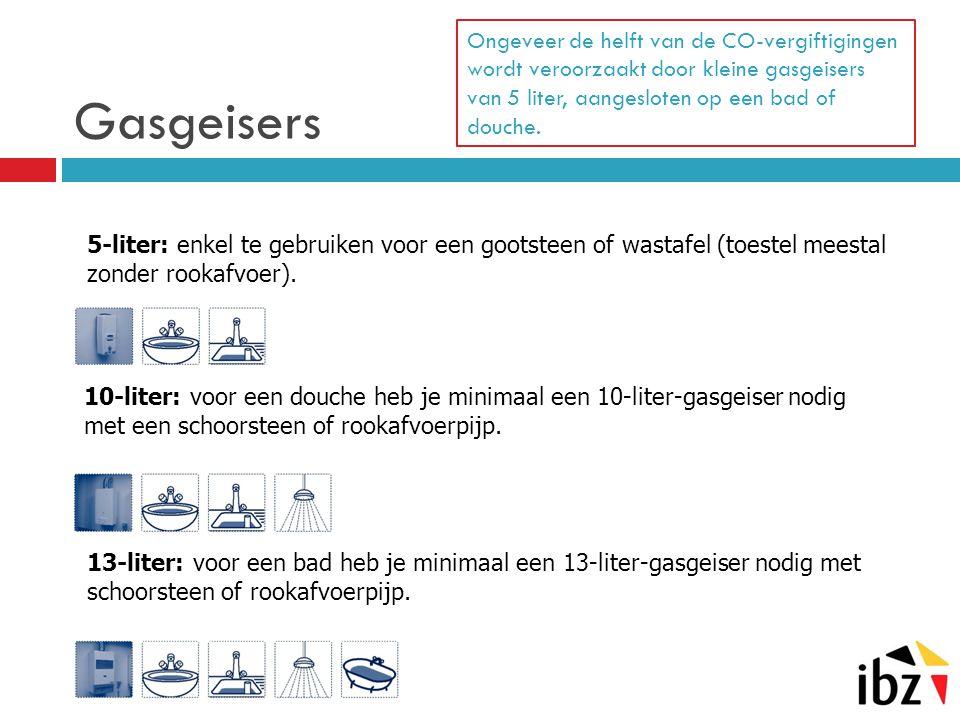 Gasgeisers Ongeveer de helft van de CO-vergiftigingen wordt veroorzaakt door kleine gasgeisers van 5 liter, aangesloten op een bad of douche.