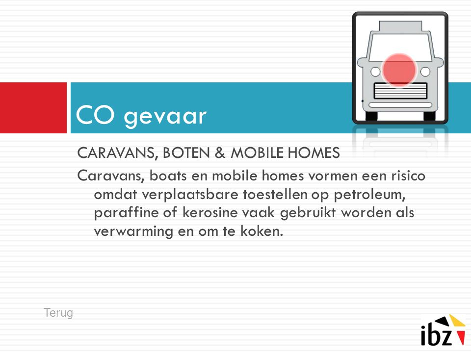 CO gevaar CARAVANS, BOTEN & MOBILE HOMES