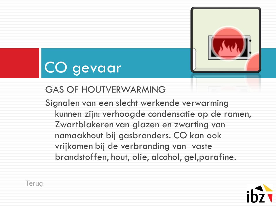 CO gevaar GAS OF HOUTVERWARMING
