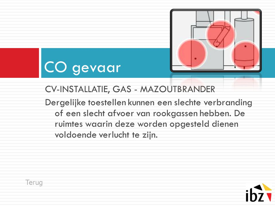 CO gevaar CV-INSTALLATIE, GAS - MAZOUTBRANDER