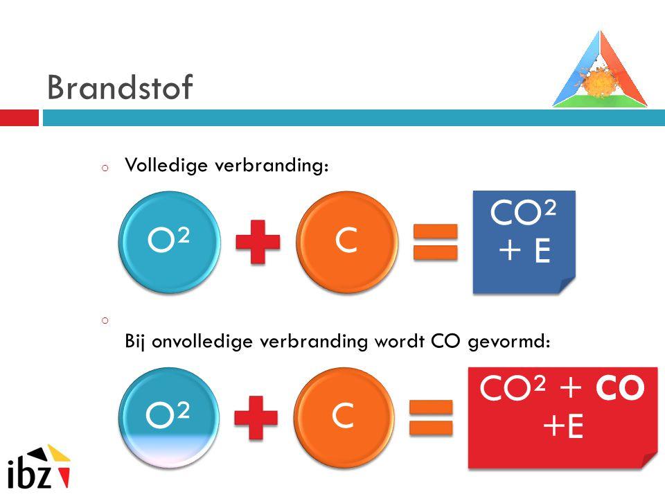O² Brandstof O² C CO² + E C CO² + CO +E Volledige verbranding: