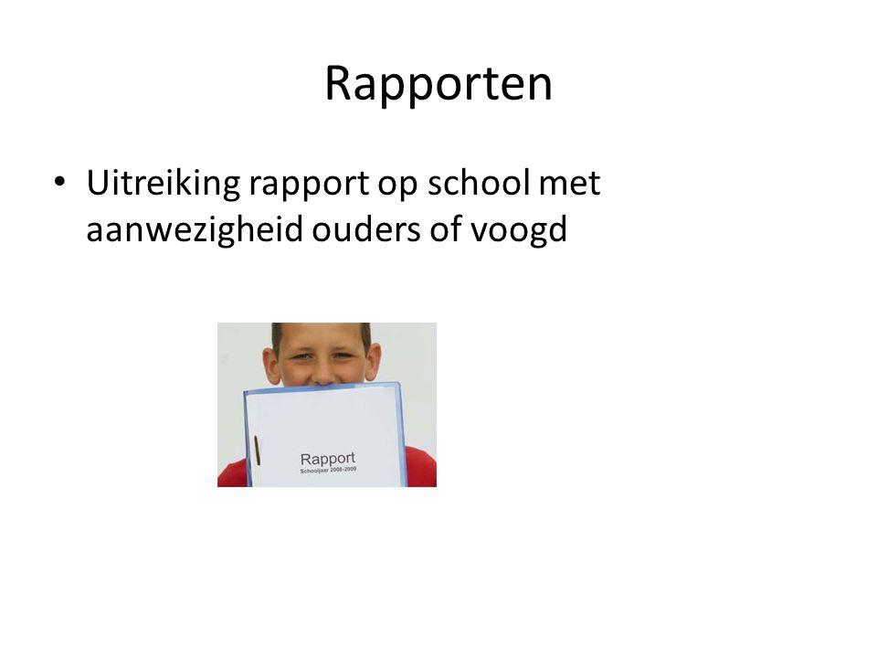 Rapporten Uitreiking rapport op school met aanwezigheid ouders of voogd