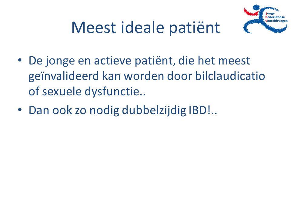Meest ideale patiënt De jonge en actieve patiënt, die het meest geïnvalideerd kan worden door bilclaudicatio of sexuele dysfunctie..