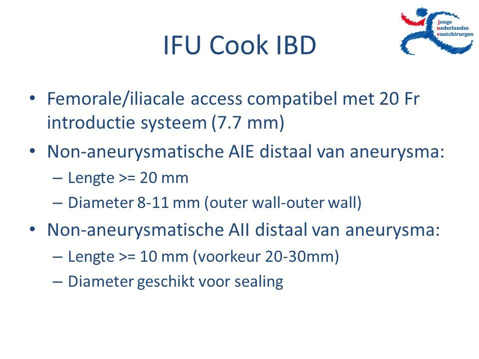 IFU Cook IBD Femorale/iliacale access compatibel met 20 Fr introductie systeem (7.7 mm) Non-aneurysmatische AIE distaal van aneurysma: