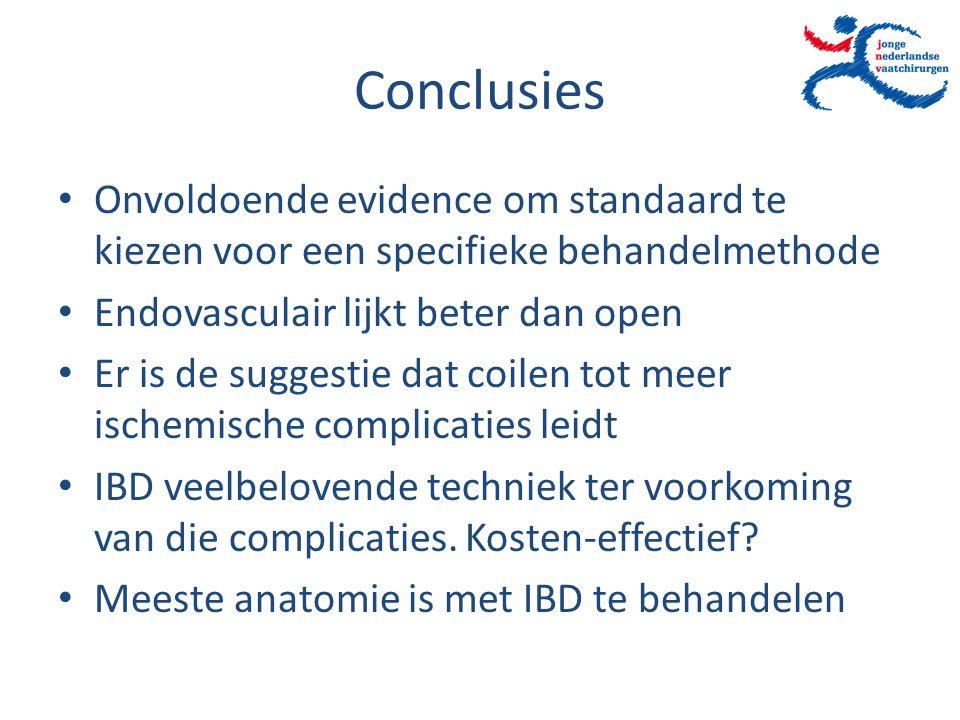 Conclusies Onvoldoende evidence om standaard te kiezen voor een specifieke behandelmethode. Endovasculair lijkt beter dan open.
