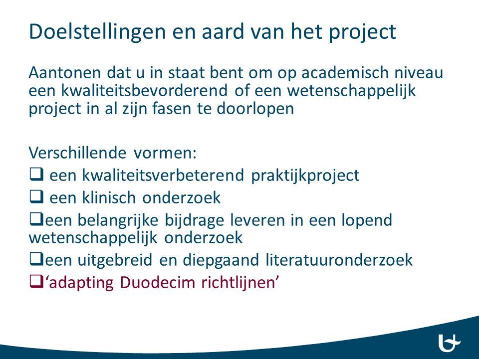 Doelstellingen en aard van het project