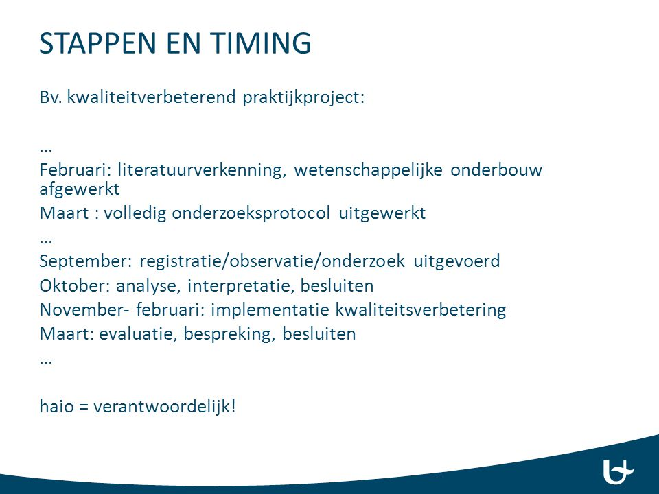 STAPPEN EN TIMING