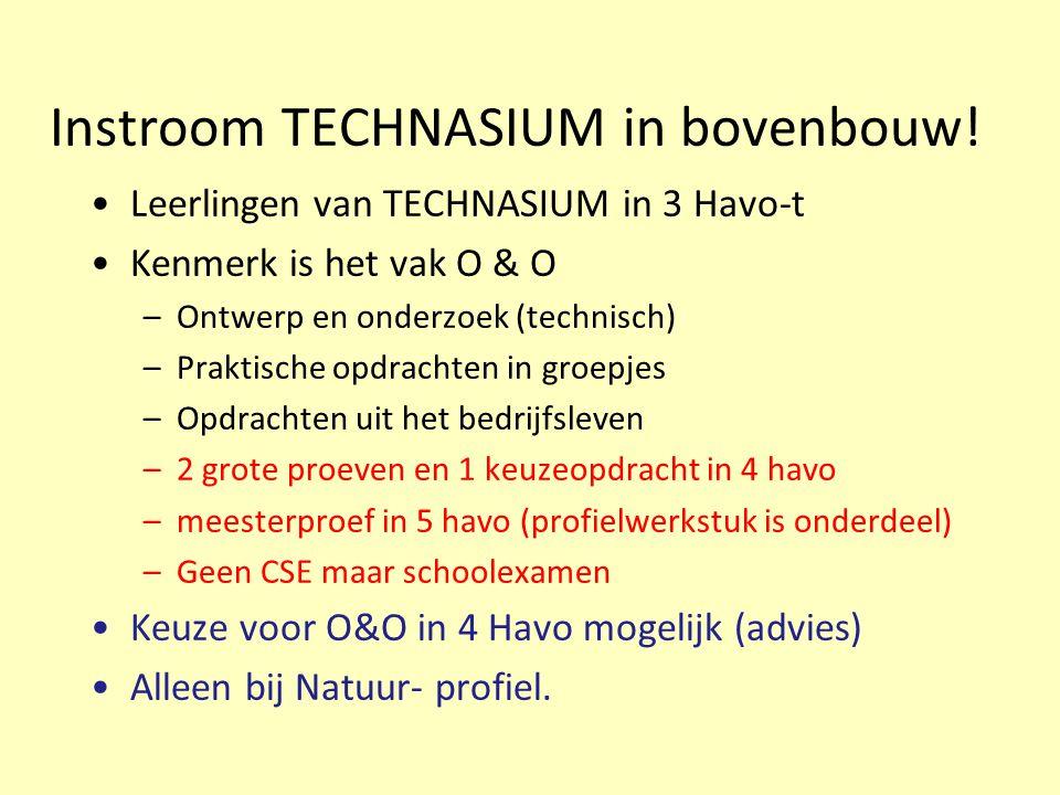 Instroom TECHNASIUM in bovenbouw!