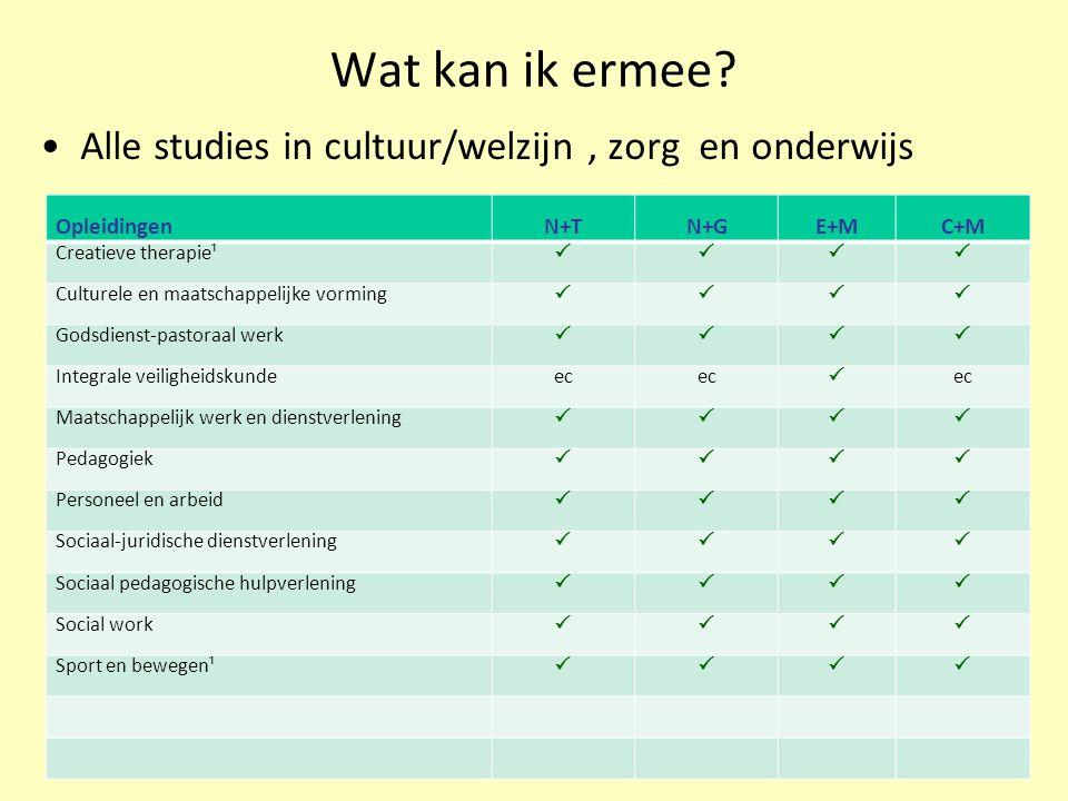 Wat kan ik ermee Alle studies in cultuur/welzijn , zorg en onderwijs