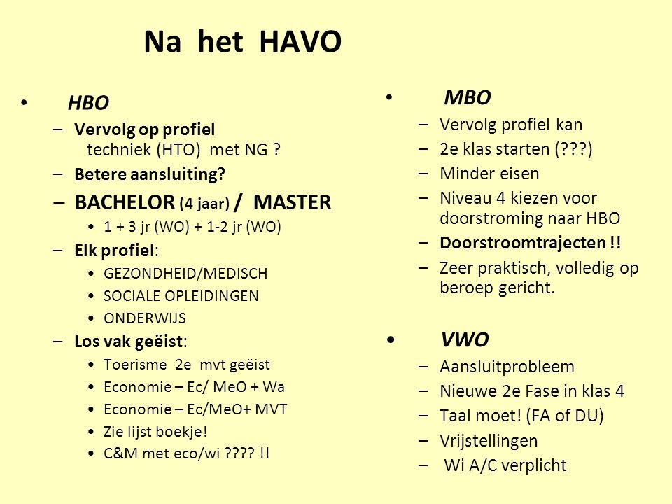 Na het HAVO MBO HBO BACHELOR (4 jaar) / MASTER VWO Vervolg profiel kan