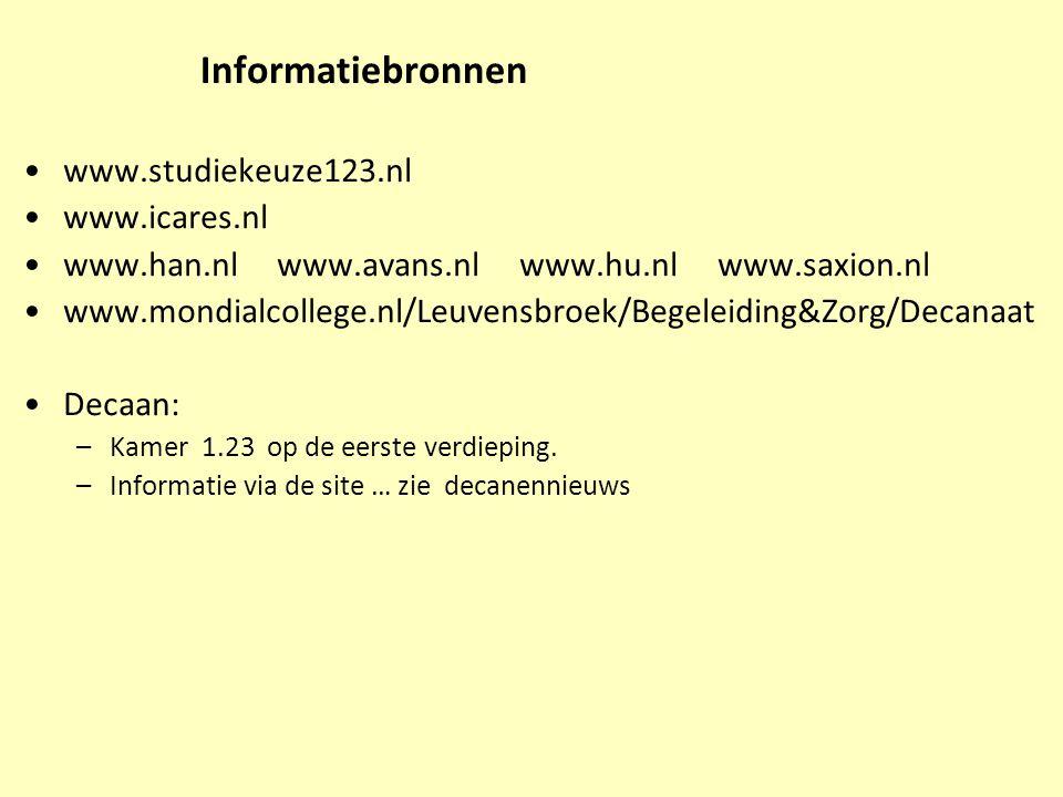 Informatiebronnen www.studiekeuze123.nl www.icares.nl