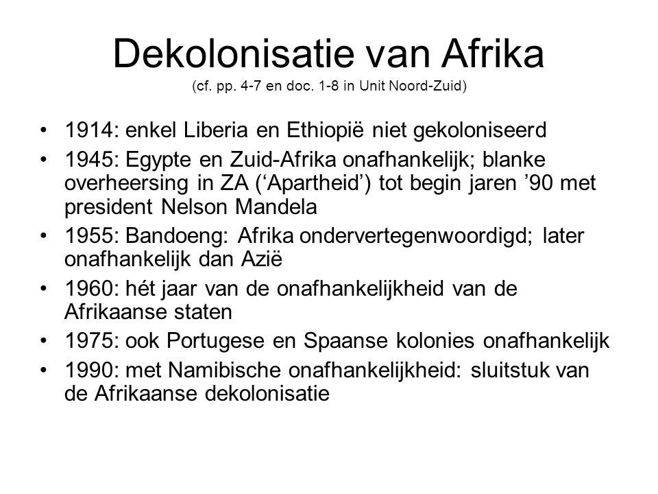 Dekolonisatie van Afrika (cf. pp. 4-7 en doc. 1-8 in Unit Noord-Zuid)