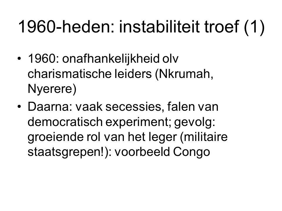 1960-heden: instabiliteit troef (1)