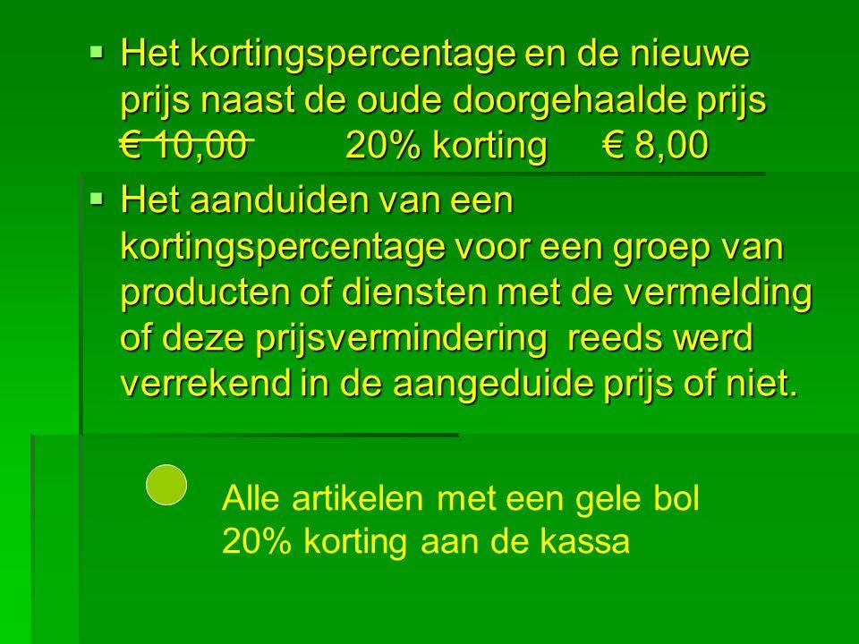 Het kortingspercentage en de nieuwe prijs naast de oude doorgehaalde prijs € 10,00 20% korting € 8,00