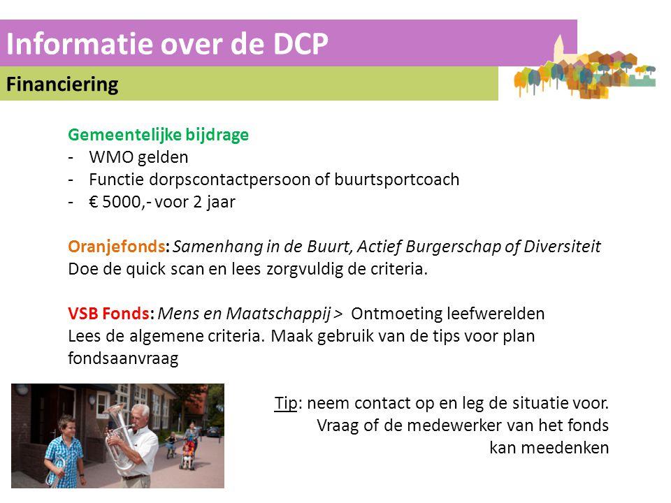 Informatie over de DCP Financiering Gemeentelijke bijdrage WMO gelden