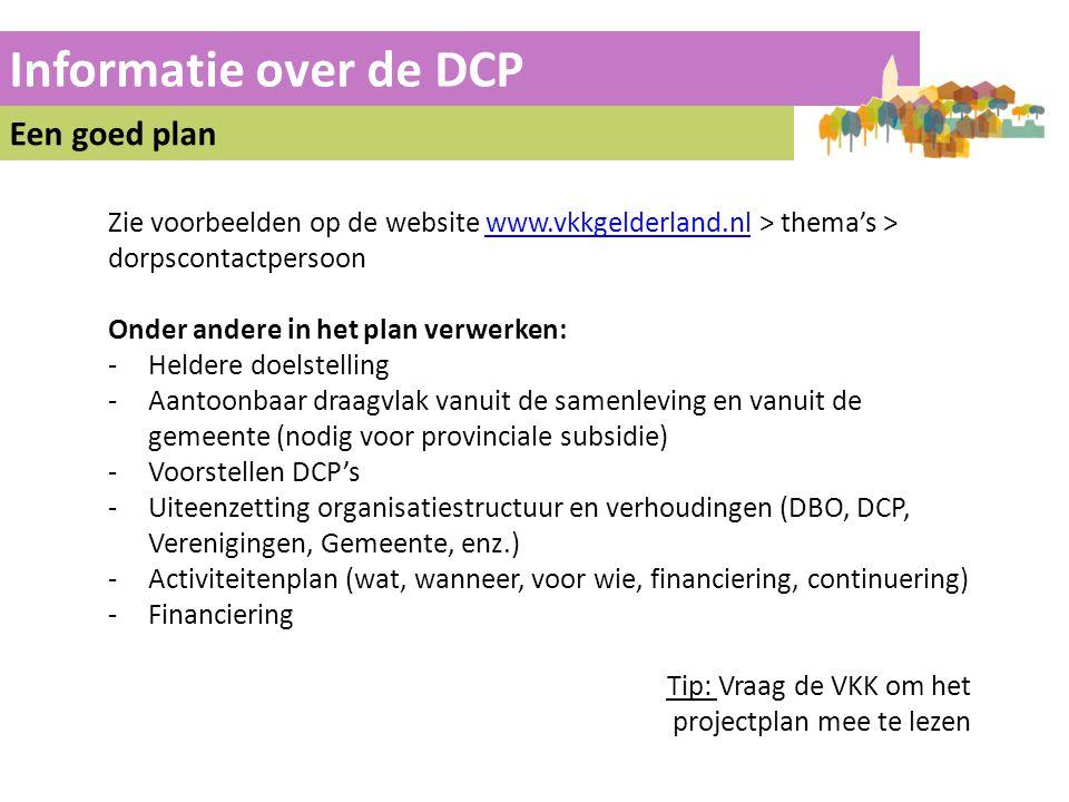 Informatie over de DCP Een goed plan
