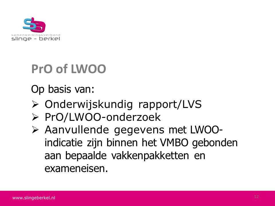 PrO of LWOO Op basis van: Onderwijskundig rapport/LVS