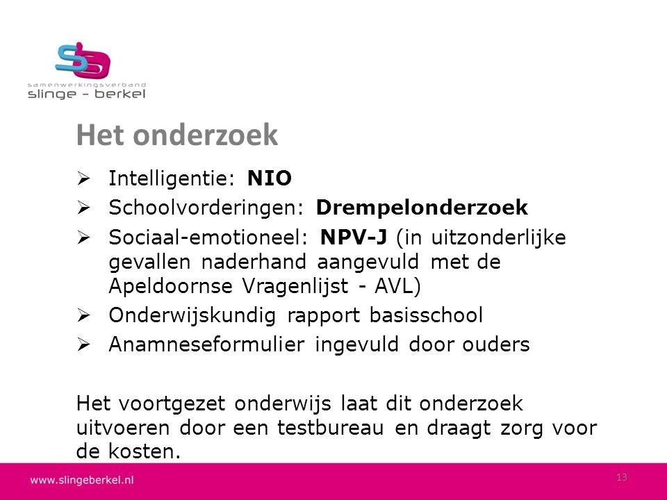 Het onderzoek Intelligentie: NIO Schoolvorderingen: Drempelonderzoek