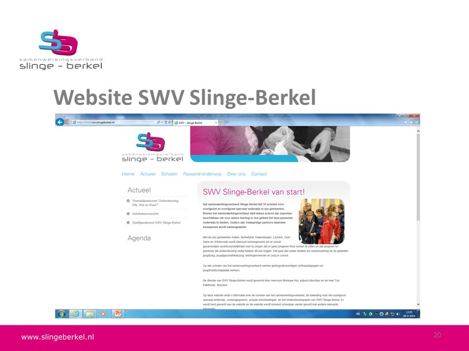 Website SWV Slinge-Berkel