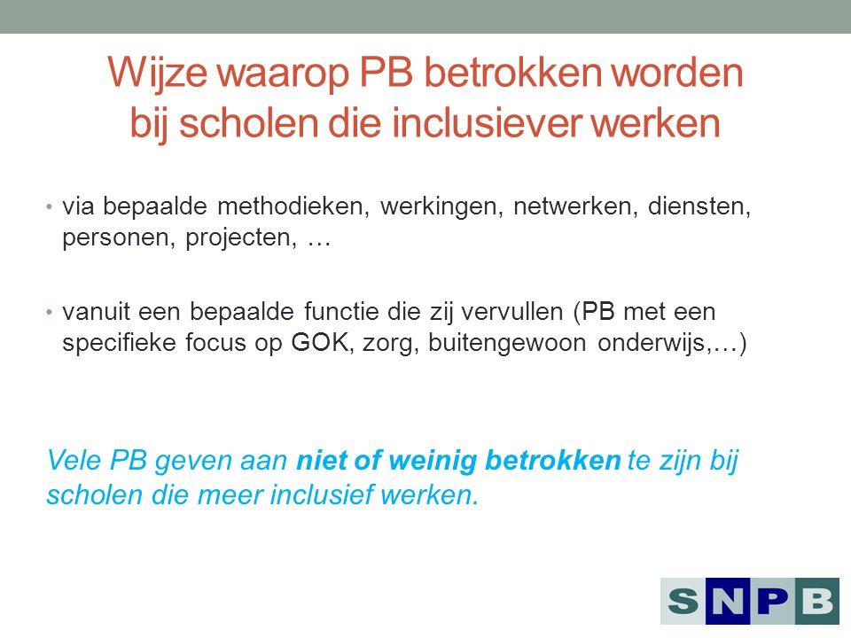 Wijze waarop PB betrokken worden bij scholen die inclusiever werken