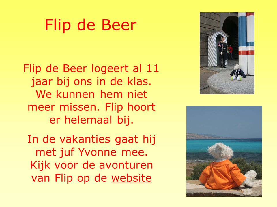 Flip de Beer Flip de Beer logeert al 11 jaar bij ons in de klas. We kunnen hem niet meer missen. Flip hoort er helemaal bij.