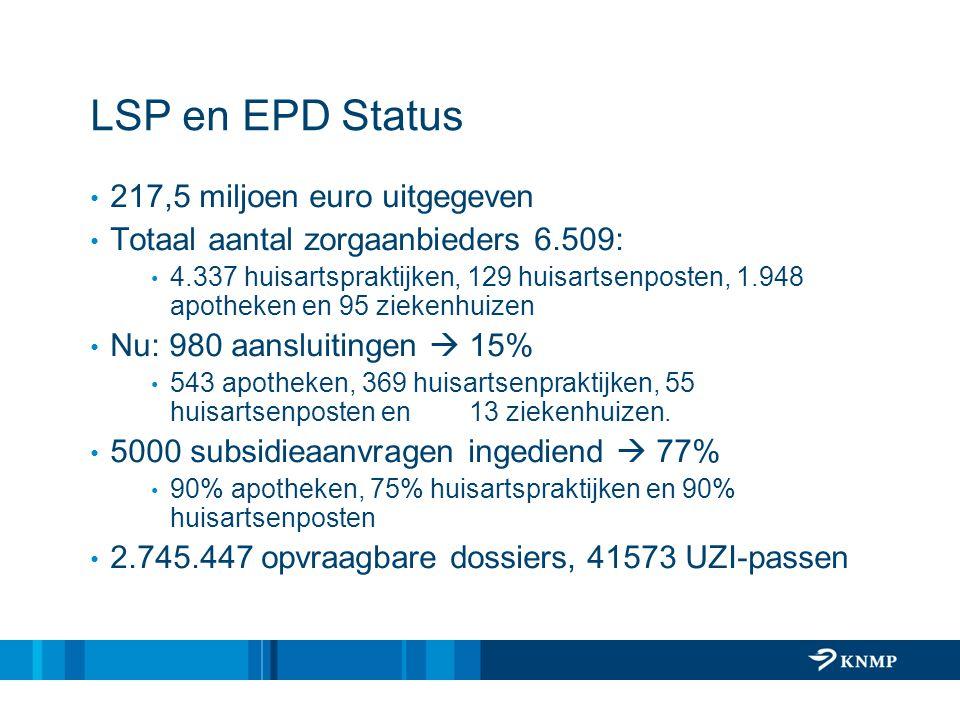 LSP en EPD Status 217,5 miljoen euro uitgegeven