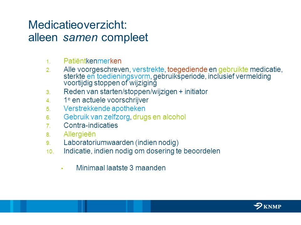Medicatieoverzicht: alleen samen compleet