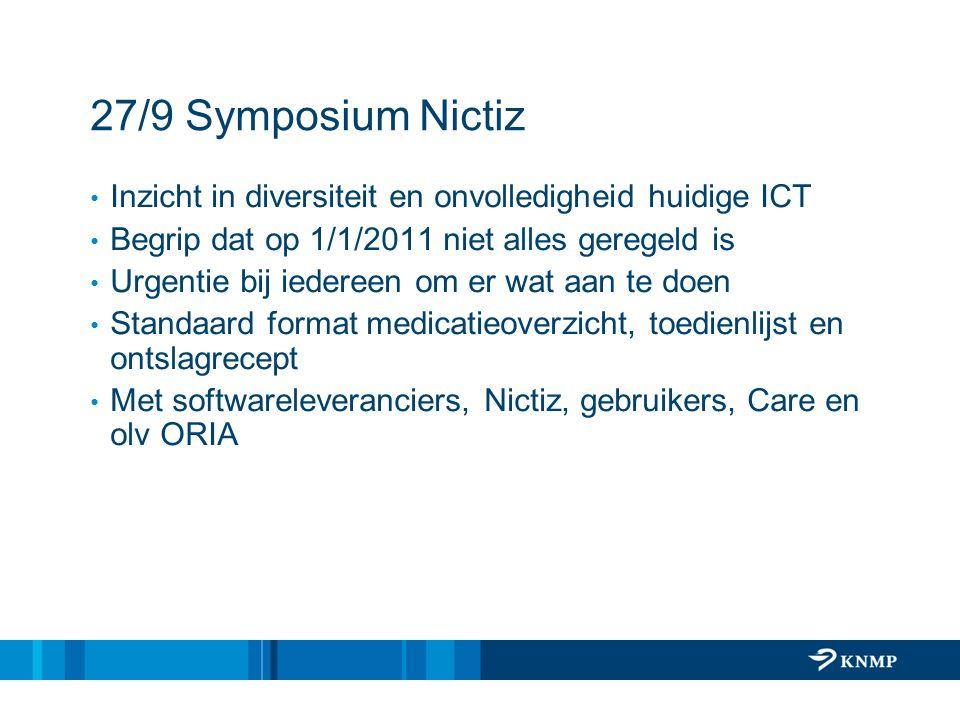 27/9 Symposium Nictiz Inzicht in diversiteit en onvolledigheid huidige ICT. Begrip dat op 1/1/2011 niet alles geregeld is.