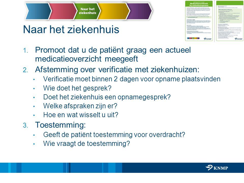 Naar het ziekenhuis Promoot dat u de patiënt graag een actueel medicatieoverzicht meegeeft. Afstemming over verificatie met ziekenhuizen: